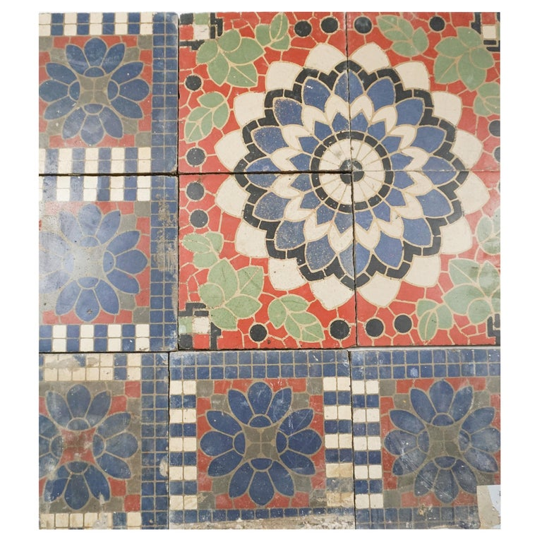 Reclaimed French Painted Flooring, circa 1900 For Sale