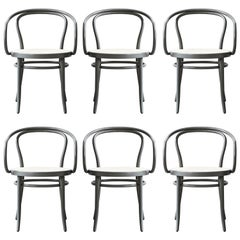 Six Handcrafted Rattan Dining Chairs in Grey-Green Finish
