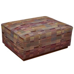 Ottoman Covered in Handwoven Indian Fabric