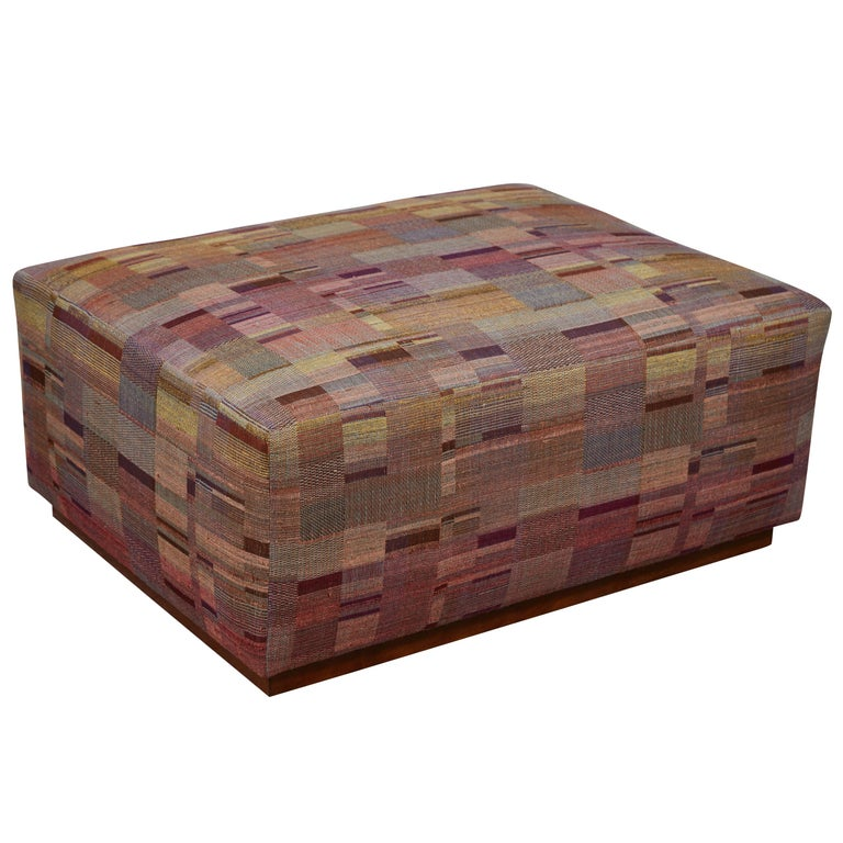 Ottoman Covered in Handwoven Indian Fabric For Sale