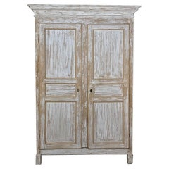 19th Century Rustic Swedish Painted Pine Armoire