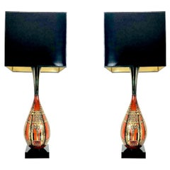 Pair of Gourd Asian Table Lamps