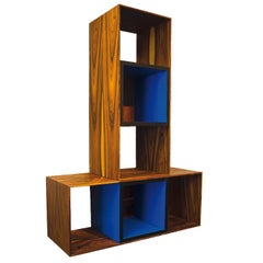 Binomio, Palisandro Veneer and Blue Laminate Bookshelf