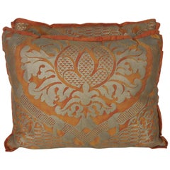 Pair of Burnt Orange & Silvery Gold Fortuny Pillows