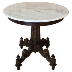 Antique Biedermeir Walnut Marble Top Center Table