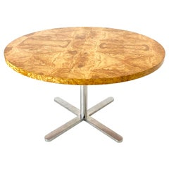 Round Burl Wood Dining Table with Star Pedestal Base in the Style of Knoll