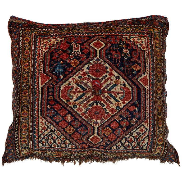 Antique Qashqai Bag Face Pillow For Sale