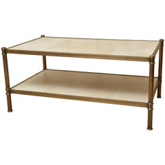 Parchment and Brass Two-Tier Coffee Table