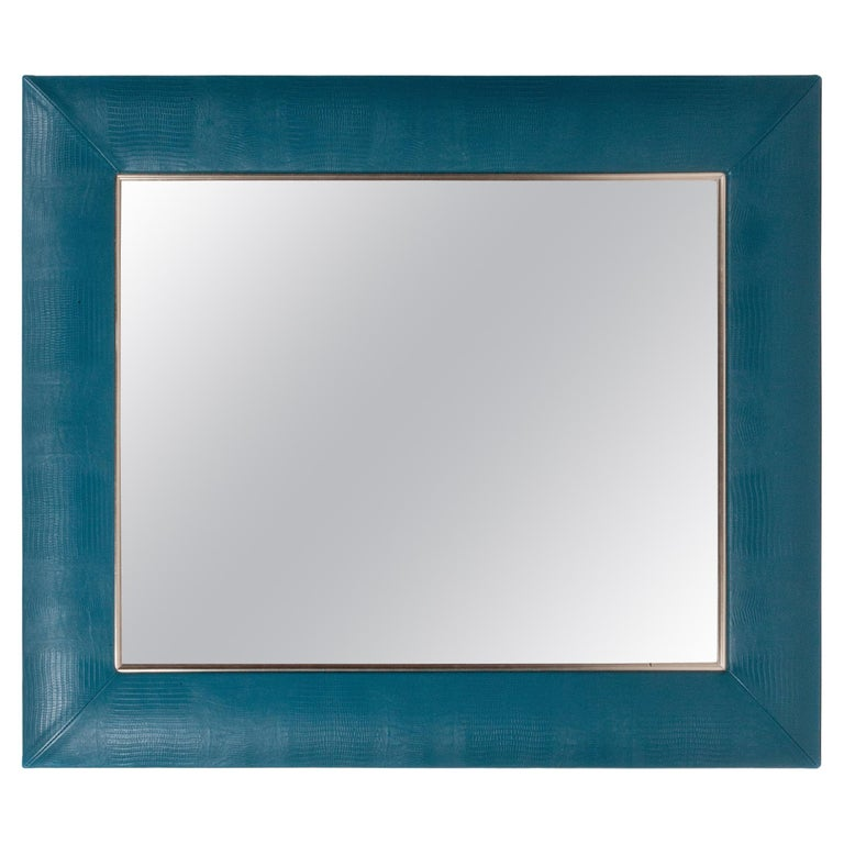Teal Lizard Embossed Leather Framed Mirror with Gold Detailing For Sale