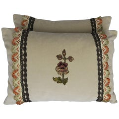 Custom Accent Pillows with Antique Flower Appliques, Pair