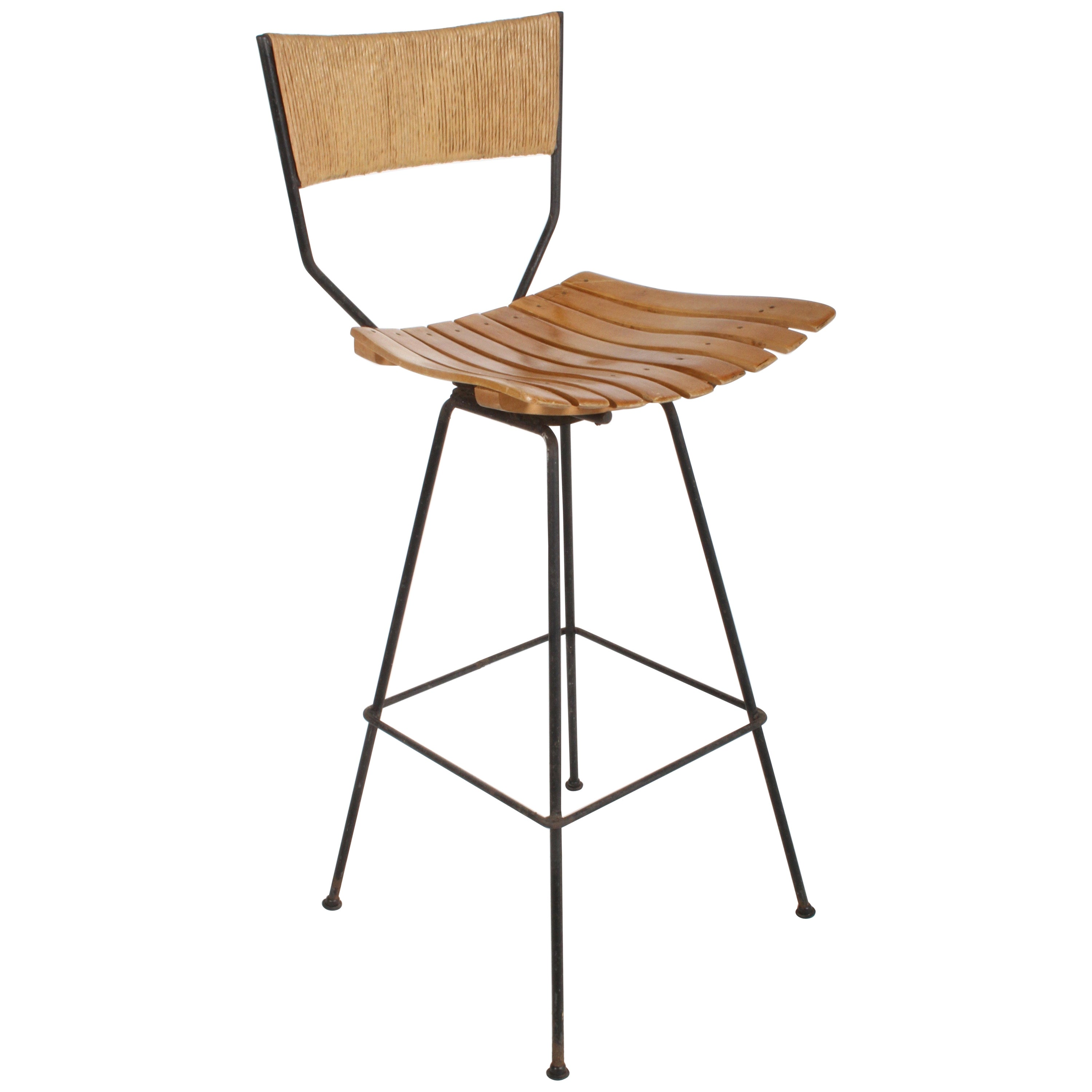 Arthur Umanoff Mid-Century Swivel Bar Stool