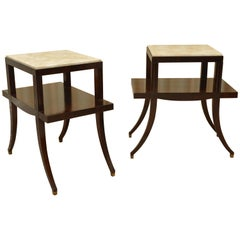 Pair of Neoclassical Mahogany and Travertine Two-Tier Tables