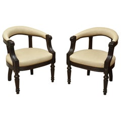 Pair of Regency Style Ebonized Barrel Back Armchairs