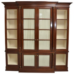 Regency Style Mahogany and Brass Breakfront Bookcase