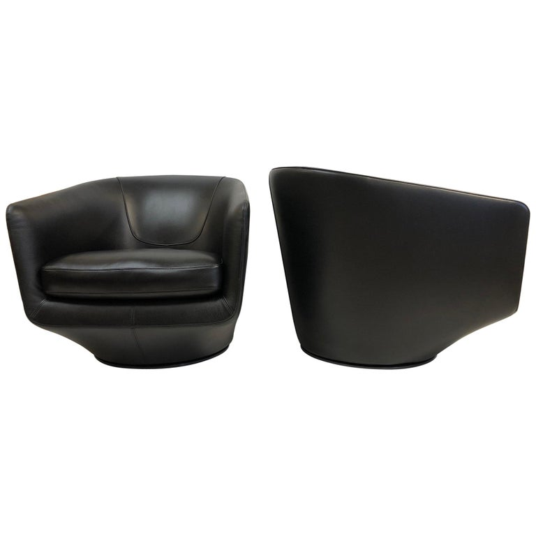 Pair of Leather Swivel Lounge Chairs by Bensen For Sale