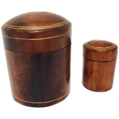 Set of Two Vintage Florentine Leather Snuff Boxes