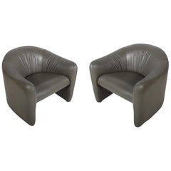 Pair of 1970s Metropolitan Furniture Company Leather Lounge Chairs