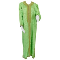 Elegant Moroccan Caftan Green and Gold Embroidered with Moorish Designs