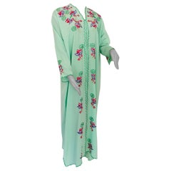 Moroccan Green with Floral Embroidered Caftan, Kaftan