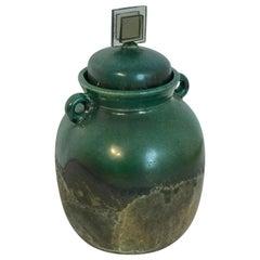 Raku Pottery Lidded Vase, by Tony Evans