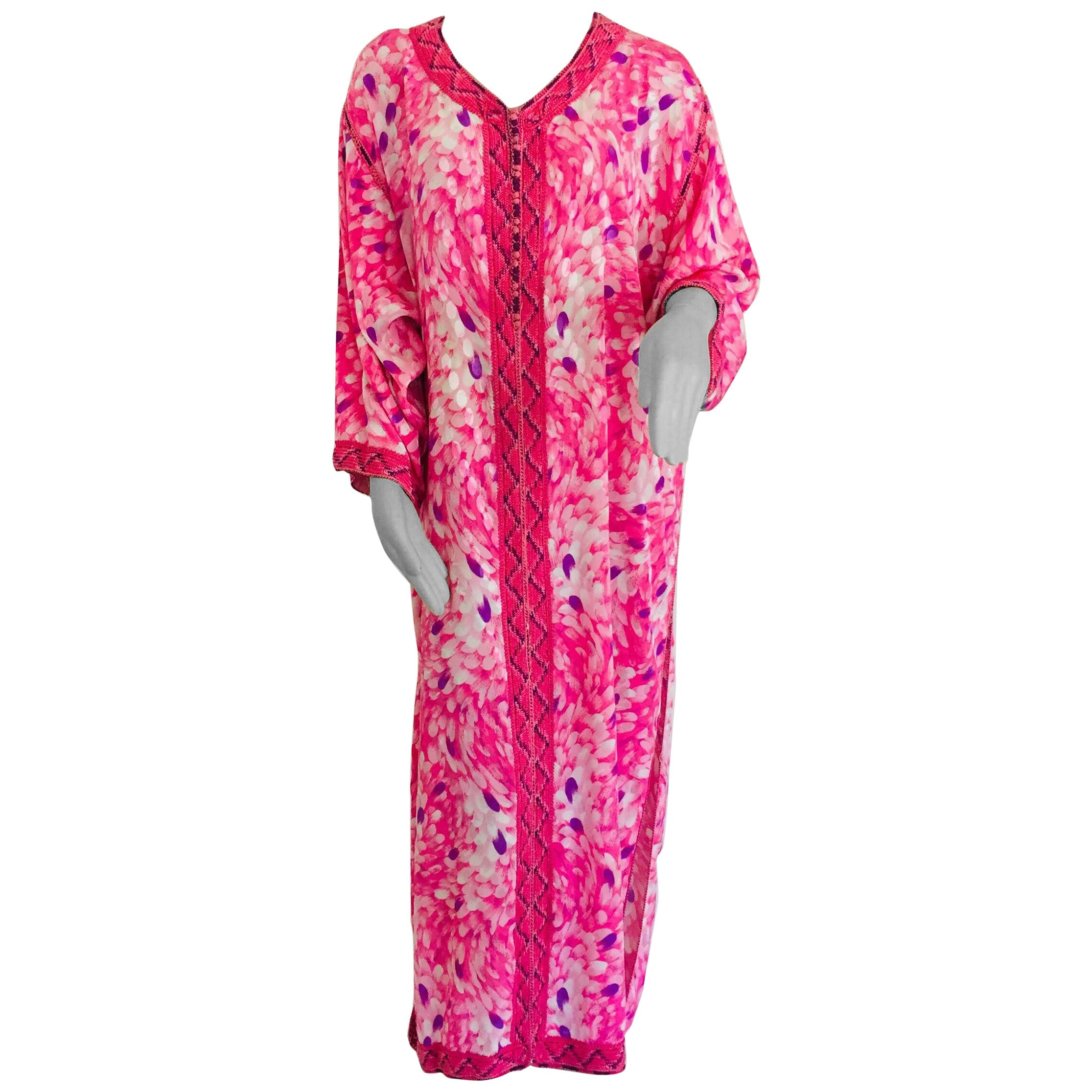 Moroccan Floral Pink Kaftan Maxi Dress Caftan Size Large