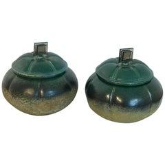 "Pair Raku Pottery Lidded ""Gourd"" Vases, by Tony Evans"