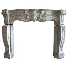 French Regency Style Fireplace in Cast-Stone Hand-Finished, 20th Century, France