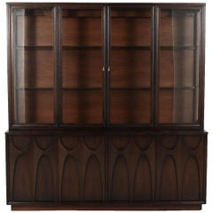 Sculpted Brasilia Walnut Credenza by Broyhill with Detachable China Hutch