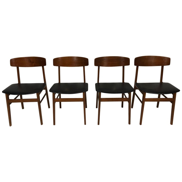 Set of Four Sax Denmark Teak Dinning Chairs, 1960 For Sale