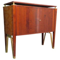 Jacques Quinet Cherrywood and Brass French Sideboard, 1957