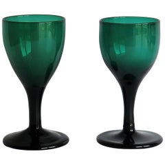 TWO Georgian Hand Blown Wine Glasses Bristol Green with Tulip Bowl, circa 1790