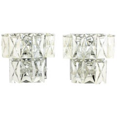 Pair of Mid-Century Modern French Baccarat Style Crystal Wall Lights