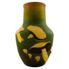 Rare Ipsen's, Denmark Art Nouveau Ceramic Vase, Mushrooms in Relief