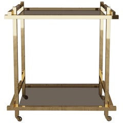 Bar Cart in Hand Polished Brass and Nubuck Leather