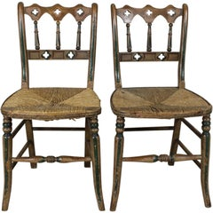 Pair of 19th Century Original Painted Gothic Side Chairs