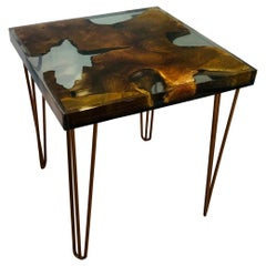 Copper Hairpin Side Table with a Cut Tree Log Tabletop