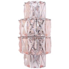 Large Mid-Century Modern French Baccarat Pink Crystal Wall Sconce