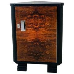 Art Deco Walnut Corner Cabinet or Commode