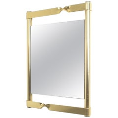 Luciano Frigerio Midcentury Brass Mirror with Twisted Frame, Italy, circa 1970