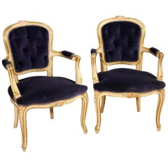 20th Century Lacquered, Painted Wood, Blue Velvet Pair Italian Armchairs, 1960