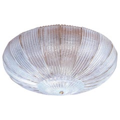 Large Round Clear Murano Glass Flush Mount, Mid-Century Modern, Mazzega Style