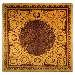 Gianni Versace Collection Rug Wild Barocco, Gold Leopard Animal Print, 1980