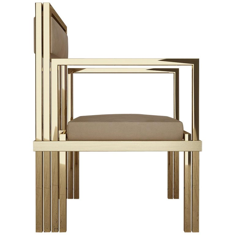 Hand Polished Brass and Nubuck Leather Armchair For Sale