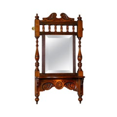 Antique Valet Mirror, English, Edwardian, Small, Walnut, Wall, circa 1910