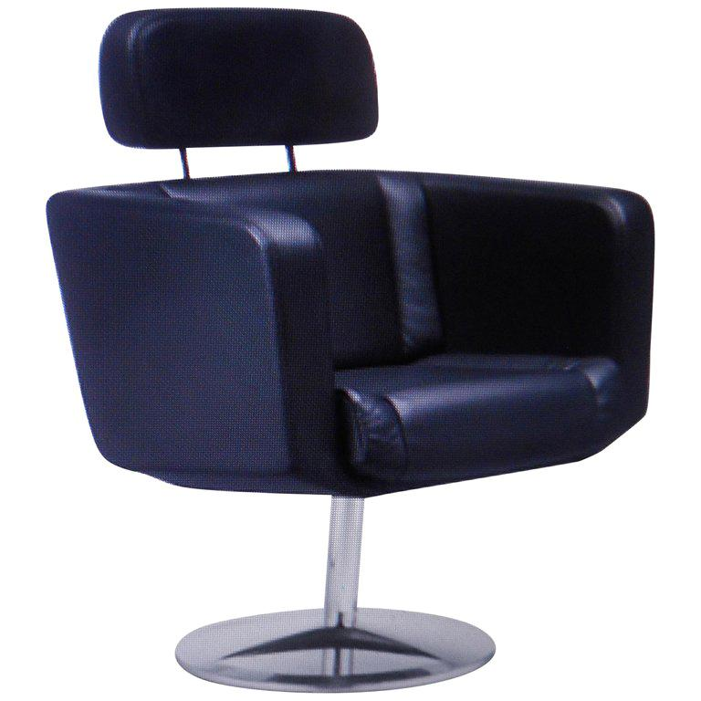 Brown Leather Exclusive Swivel Desk Chair by Paolo Fancelli For Sale