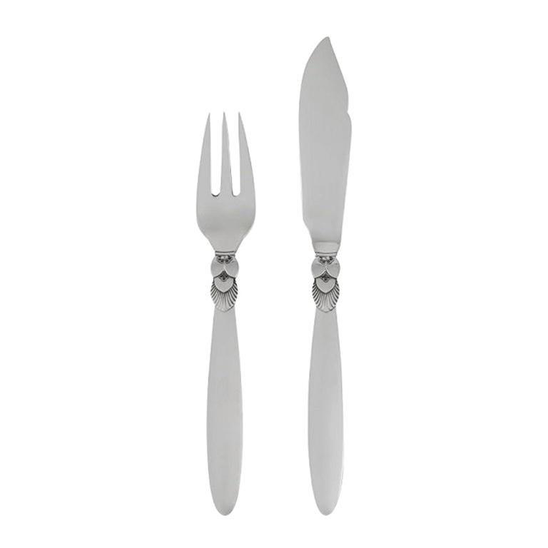 Set of 6 Vintage Georg Jensen Cactus Fish Knives and Forks For Sale