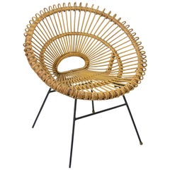 Midcentury Rattan Chair in the Style of Franco Albini, Italian, 1950s