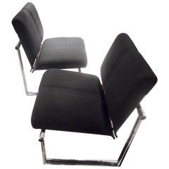 Pair of Black Fabric and Chromed Metal Visitors Chairs by P.Fancelli