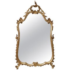 Early 20th Century Italian Carved Wooden Gilt Wall Mirror