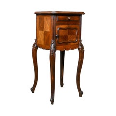 French Antique Bedside Cabinet, Victorian, Walnut, Marble Top Pot Cupboard